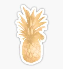 Gold Pineapple Black and White Stripes Sticker