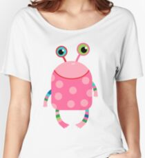 Cute silly monster alien creature in pink Women's Relaxed Fit T-Shirt