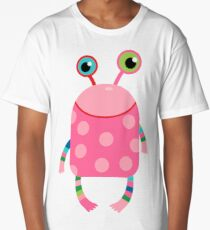 Cute silly monster alien creature in pink Long T-Shirt