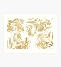 Gold Palm Leaves on white Art Print