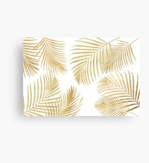 Gold Palm Leaves on white Canvas Print