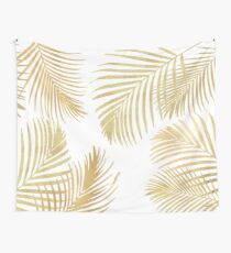 Gold Palm Leaves on white Wall Tapestry