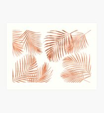 Rose Gold Palm Leaves Art Print