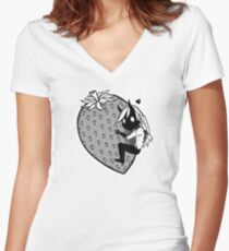 Big Strawberry Women's Fitted V-Neck T-Shirt
