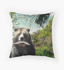 Happy Bear Lake Throw Pillow