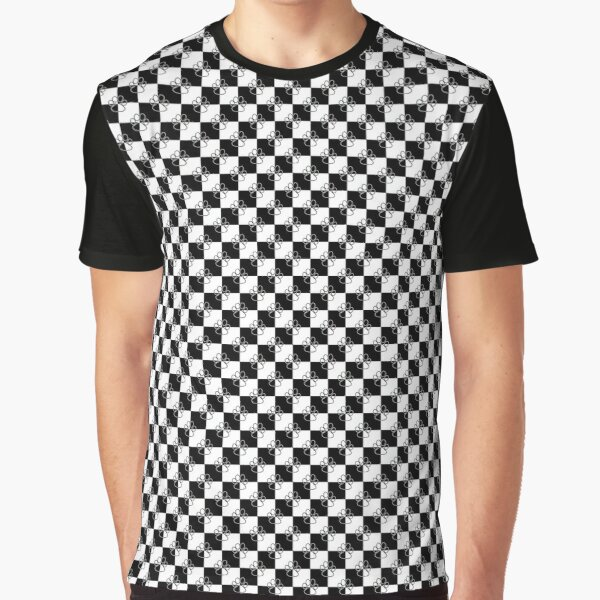 Small Black and White Checkered  Dog Paws  Graphic T-Shirt