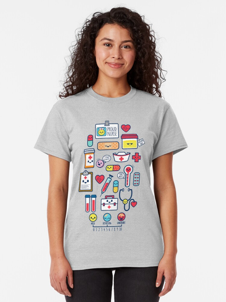 Alternate view of Proud To Be a Nurse / Surface Pattern Design / Blue Classic T-Shirt