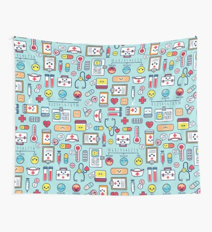 Proud To Be a Nurse / Surface Pattern Design / Blue Wall Tapestry