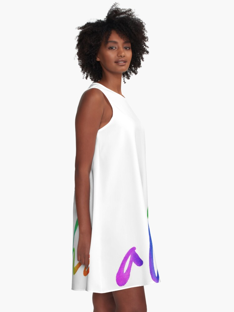 Alternate view of Aloha - Tropical Lettering - Sails and Waves Calligraphy on White - Hawaii Hawai'i A-Line Dress
