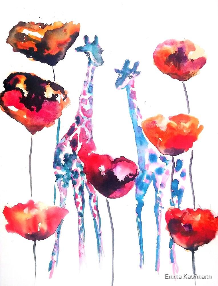 Giraffes in the Poppies by Emma Kaufmann