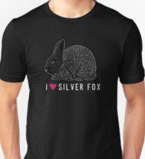 I Heart Silver Fox Rabbits / rare breed heritage breed rabbit livestock conservancy standing fur show rabbit art  Unisex T-Shirt