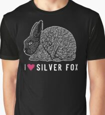I Heart Silver Fox Rabbits / rare breed heritage breed rabbit livestock conservancy standing fur show rabbit art  Graphic T-Shirt