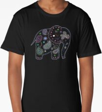 black embroidered elephant Long T-Shirt