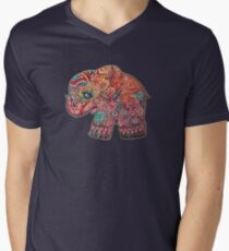Vintage Elefant T-Shirt mit V-Ausschnitt