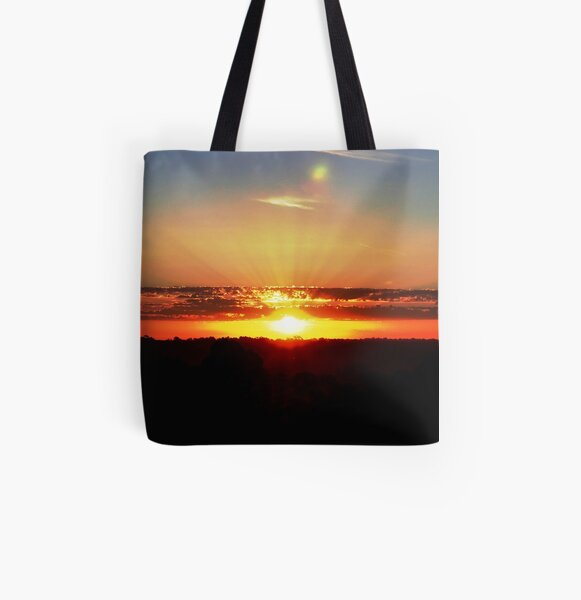 Brilliant Sunset across a Hills Landscape All Over Print Tote Bag