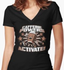 Caffeine Powers... Activate! Women's Fitted V-Neck T-Shirt