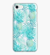 Turquoise Palm Leaves and Pineapples on Pink iPhone Case/Skin