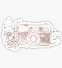 Floral Camera Pink Rose Gold Sticker