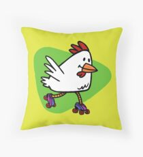 Rollerskating Chicken Throw Pillow