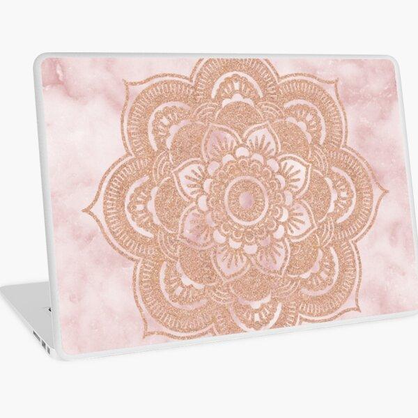 Rose gold mandala - pink marble Laptop Skin