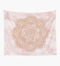 Rose gold mandala - pink marble Wall Tapestry