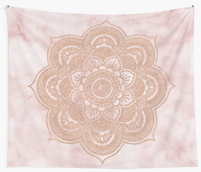 """Pink Wall Tapestry rose gold mandala - pink marble"""" wall tapestriesmarbleco"""