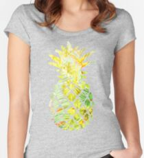 Pick A Pleasant Pineapple in Paradise #RBSTAYCAY #Sky #Blue #Tropical #Jungle #Summer #BeachParty Women's Fitted Scoop T-Shirt