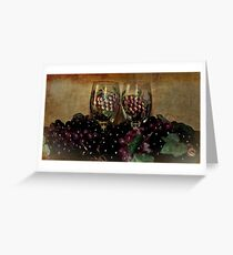 Hand Painted Wine Glasses, Grapes & More 2nd Rendition Greeting Card