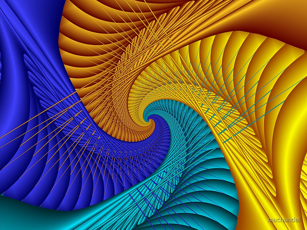 Gold and blue spiral by machandel