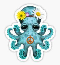 Cute Blue Baby Octopus Hippie Sticker