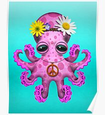 Cute Pink Baby Octopus Hippie Poster