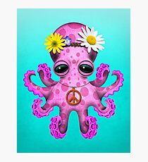 Cute Pink Baby Octopus Hippie Photographic Print