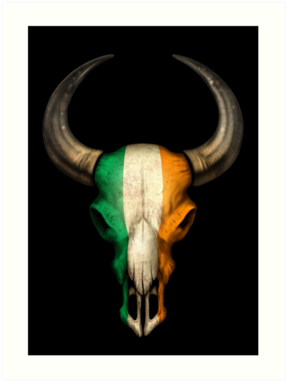 irish flag bull skull art prints by jeff bartels redbubble