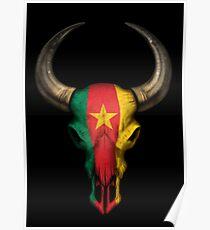 Cameroon Flag Bull Skull Poster