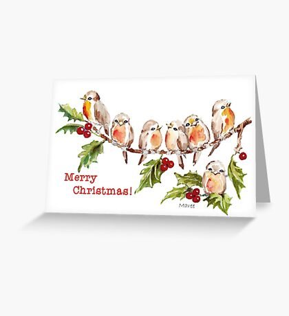 Merry Christmas! 7 Little birds Greeting Card
