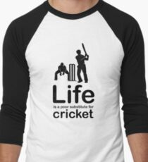 Cricket v Life - Black Graphic Men's Baseball ¾ T-Shirt