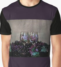 Hand Painted Wine Glasses, Grapes & More Grapes Graphic T-Shirt