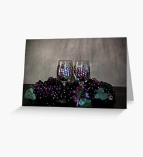 Hand Painted Wine Glasses, Grapes & More Grapes Greeting Card