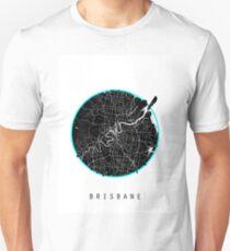 Brisbane Minimalistic Map - Light/Blue T-Shirt