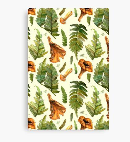 Ferns and mushrooms Canvas Print