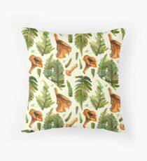 Ferns and mushrooms Throw Pillow