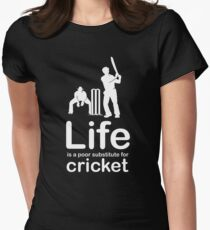 Cricket v Life - White Graphic Women's Fitted T-Shirt