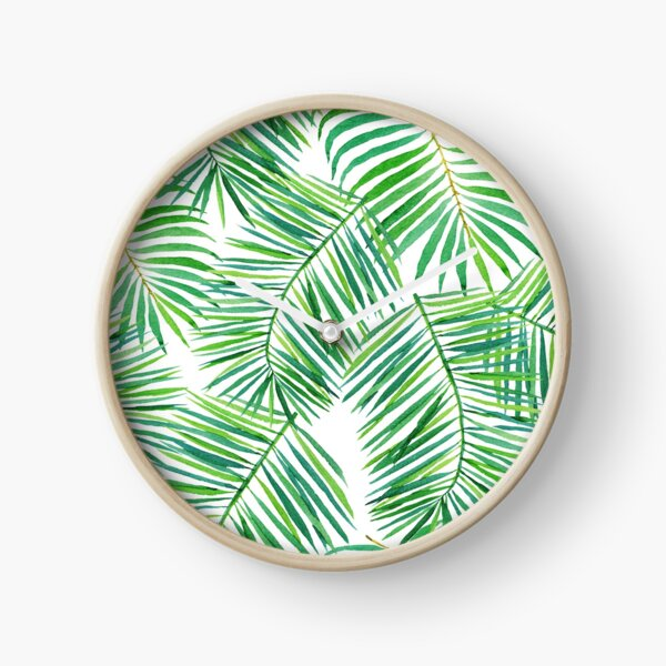 Tropical palm fronds Clock