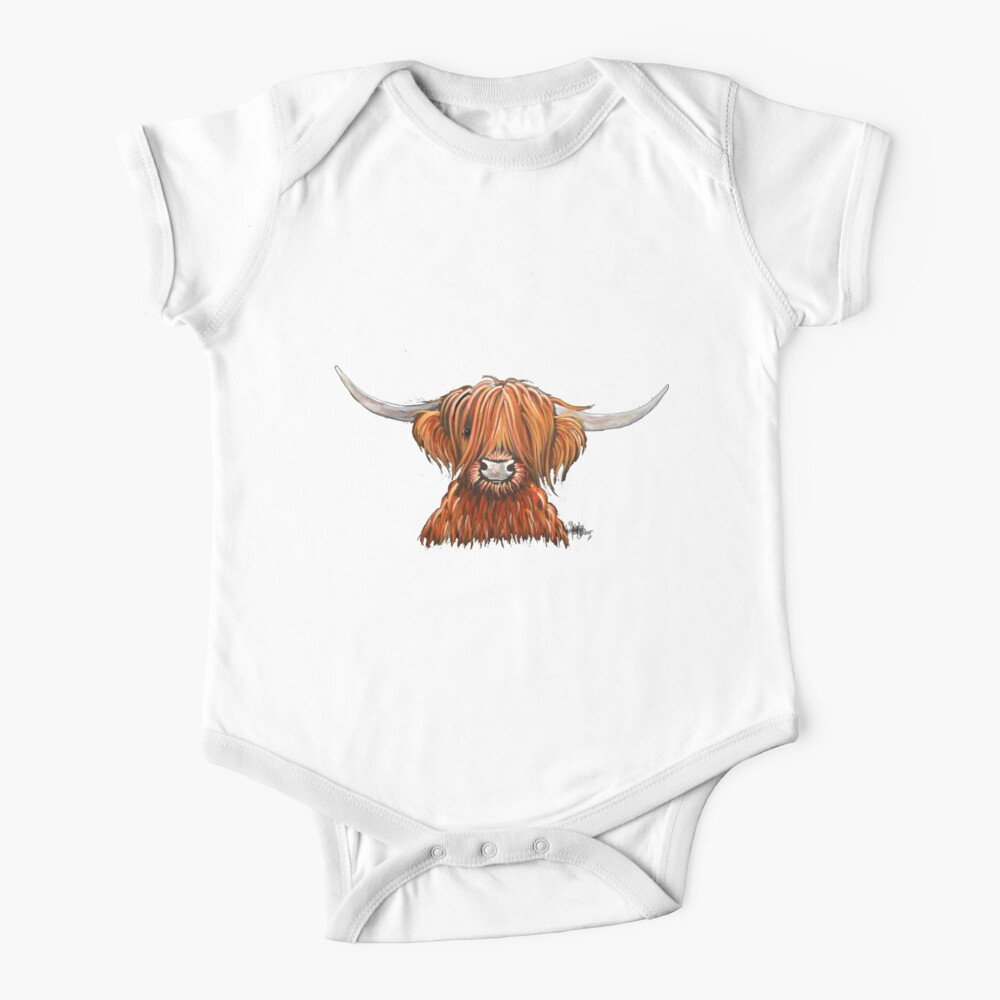 Scottish Hairy Highland Cow ' HARLEY 2 ' by Shirley MacArthur Baby One-Piece
