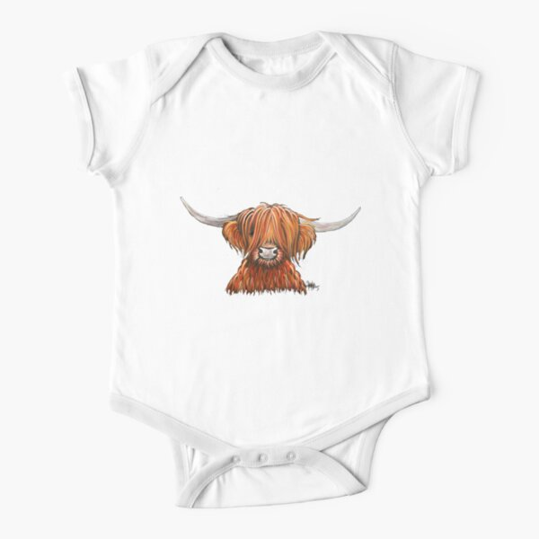 Scottish Hairy Highland Cow ' HARLEY 2 ' by Shirley MacArthur Short Sleeve Baby One-Piece