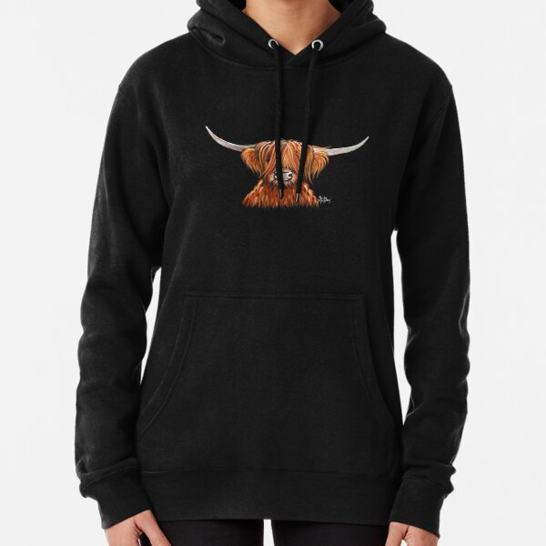 Scottish Hairy Highland Cow ' HARLEY 2 ' by Shirley MacArthur Pullover Hoodie