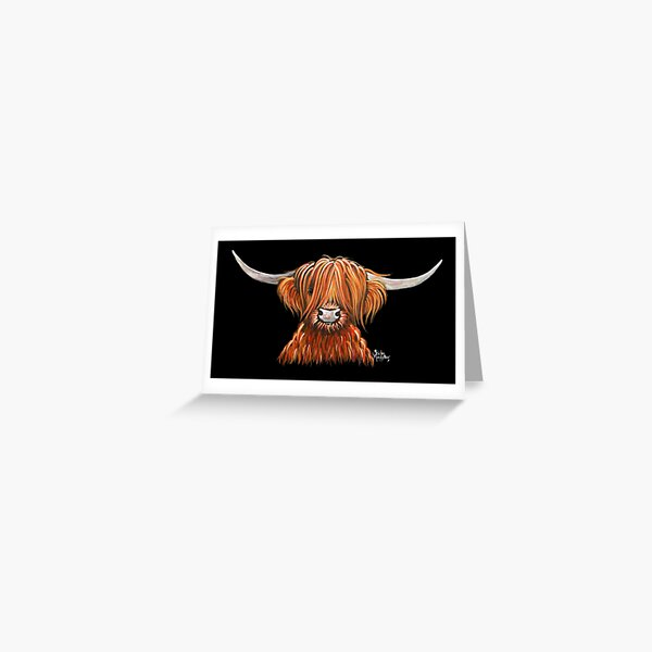 Scottish Hairy Highland Cow ' HARLEY 2 ' by Shirley MacArthur Greeting Card