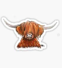 Scottish Hairy Highland Kuh 'HARLEY 2' von Shirley MacArthur Glänzender Sticker