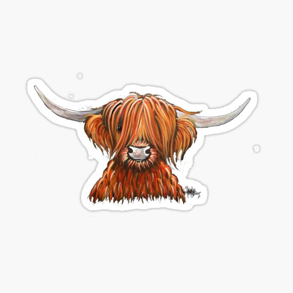 Scottish Hairy Highland Cow ' HARLEY 2 ' by Shirley MacArthur Sticker