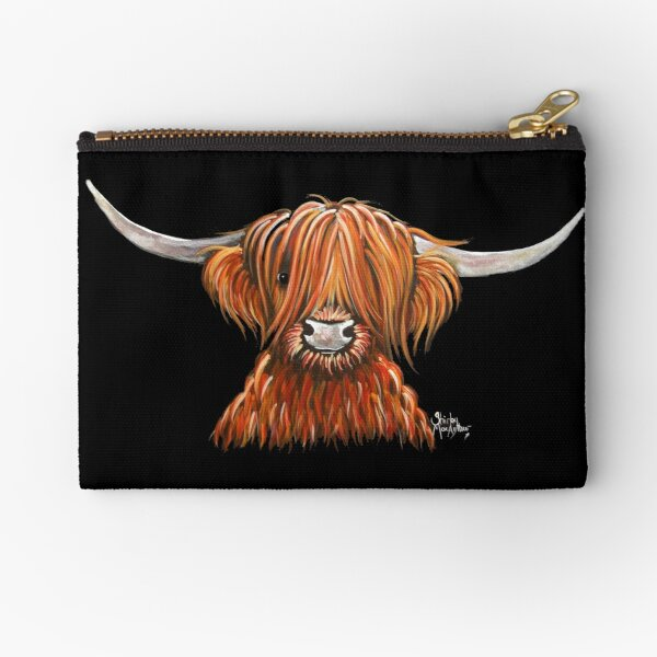 Scottish Hairy Highland Cow ' HARLEY 2 ' by Shirley MacArthur Zipper Pouch